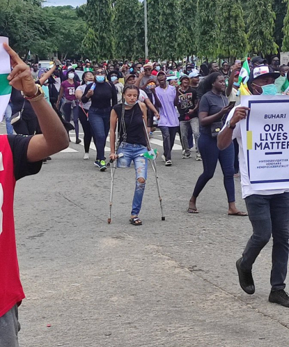 Jane Obiene on Crutches during the End Sars protests #endsars